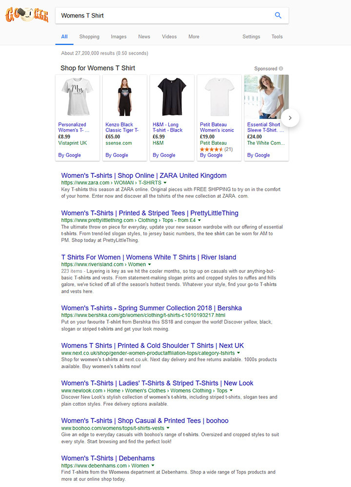 Google Search Results based on Womens T Shirt