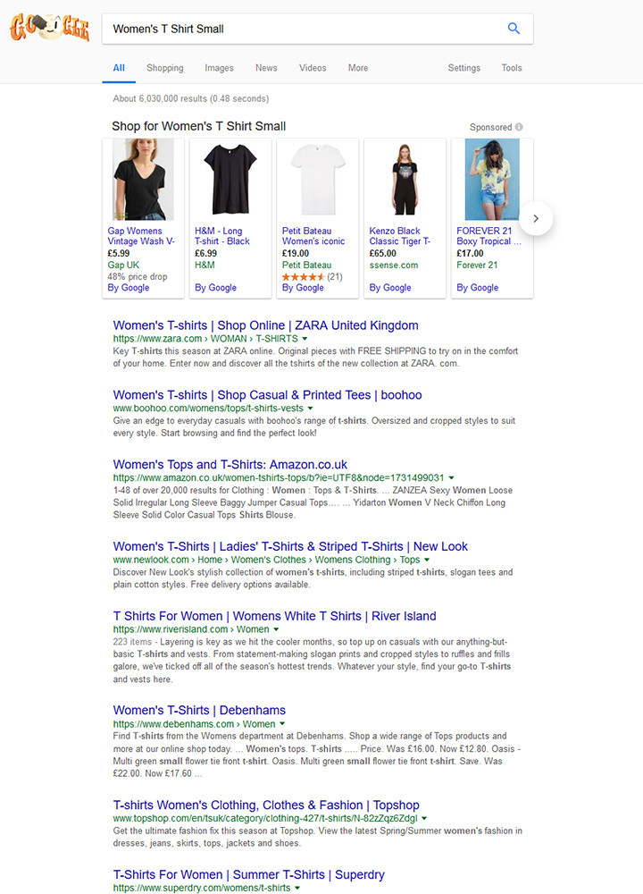 Google Results for Womens T Shirt Small