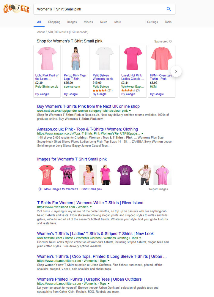 Google listing for keyphrase Womens T Shirt Small Pink