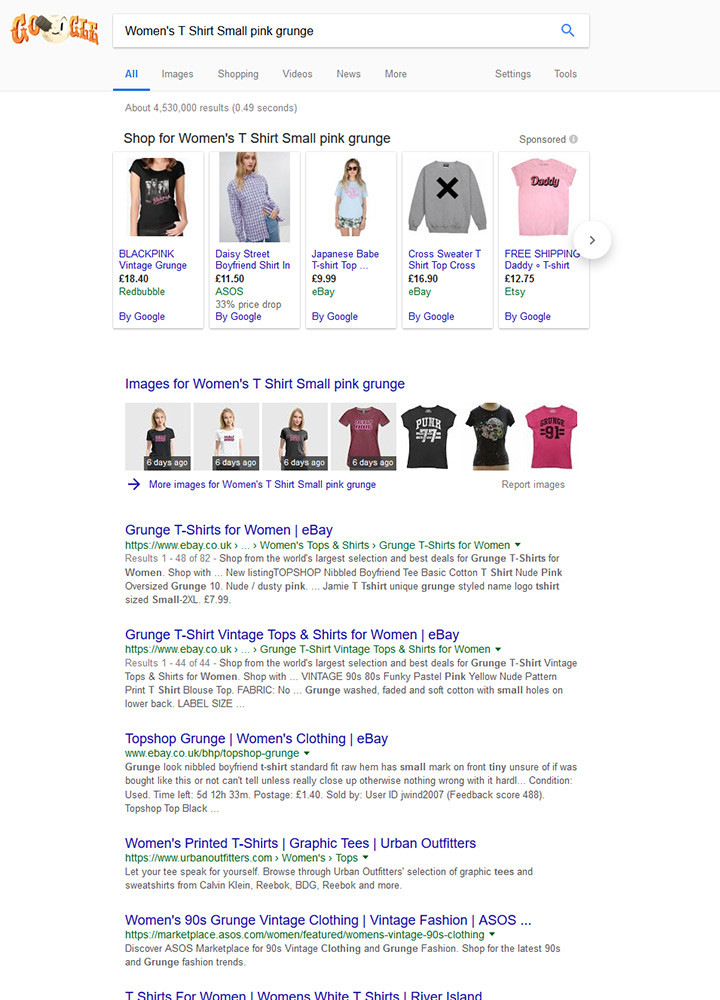 Google search for Womens T Short Small Pink grunge