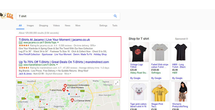 Pay Per Click Advertising results on Google