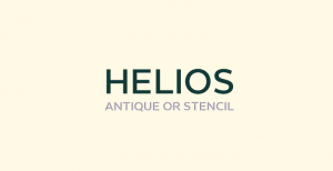 Helios is a contemporary sans-serif font that comes in versions labeled Antinique and Printed