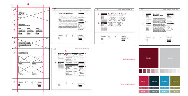 Wireframes and colourwyas for website redesign