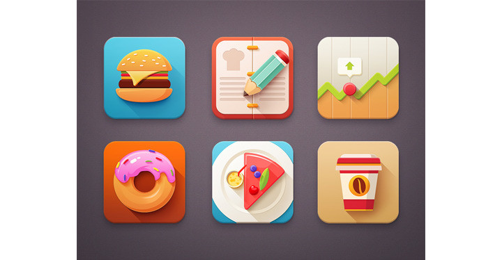 Colourful icon designs