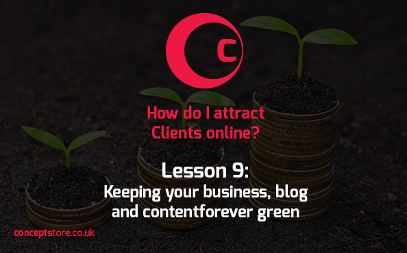Lesson 9 | Keeping your business, blog and content forever green
