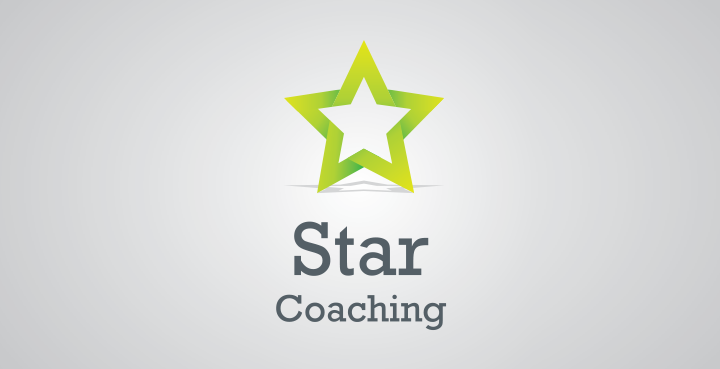 coaching logo utilising, colour, shape and typography