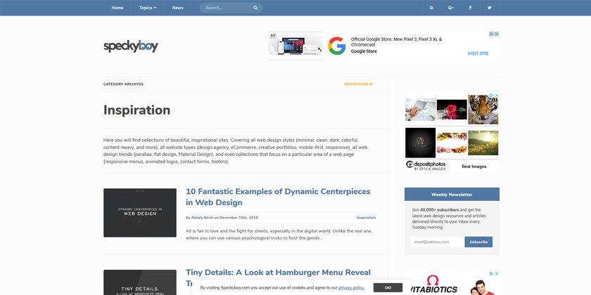 SpeckyBoy Web Design Inspiration